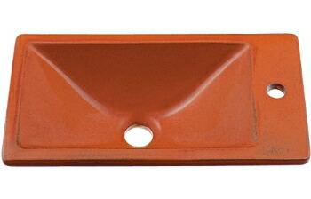 手洗い器 和風 カクダイ 手洗器 【493-010-R】 角型手洗器//鉄赤