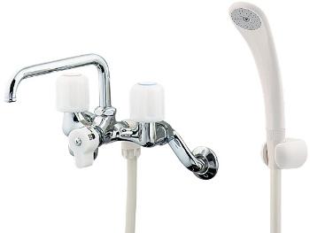 水栓 混合栓 カクダイ 水栓金具 【1375S】 2ハンドルシャワー混合栓(一時止水)