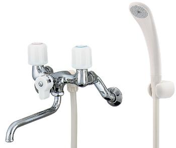 水栓 混合栓 カクダイ 水栓金具 【1395S】 2ハンドルシャワー混合栓(一時止水)