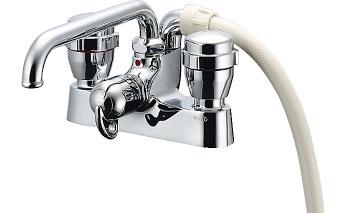 水栓 混合栓 カクダイ 水栓金具 【152-204】 2ハンドルシャワー混合栓(一時止水)//220
