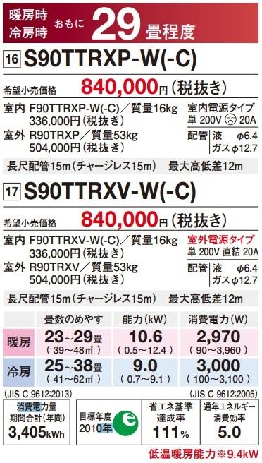 ダイキン(DAIKIN)ルームエアコン「うるさら7」【S71TTRXP】RXシリーズ23畳程度室外電源タイプ200Vホワイト/ベージュ
