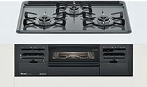 リンナイ ビルトインガスコンロ メタルトップシリーズ【RS31W21H2R-BW】メタルトップ 標準幅60cm 水無し両面焼グリル ホーロー天板 :ダークグレー 前面パネル:ブラック