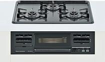 リンナイ ビルトインガスコンロ メタルトップシリーズ【RS31M4H2R-BW】メタルトップ 標準幅60cm 水無し片面焼グリル ホーロー天板 :ダークグレー 前面パネル:ブラック