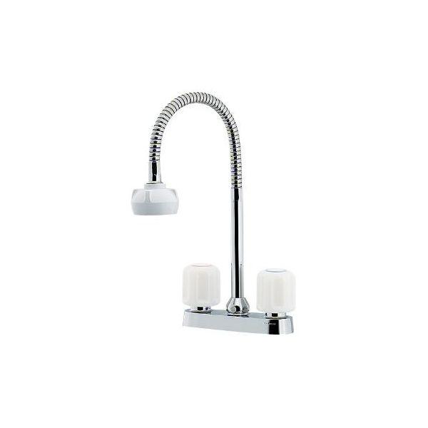 水栓 混合栓 カクダイ 水栓金具 【151-007K】 2ハンドル混合栓(シャワーつき)