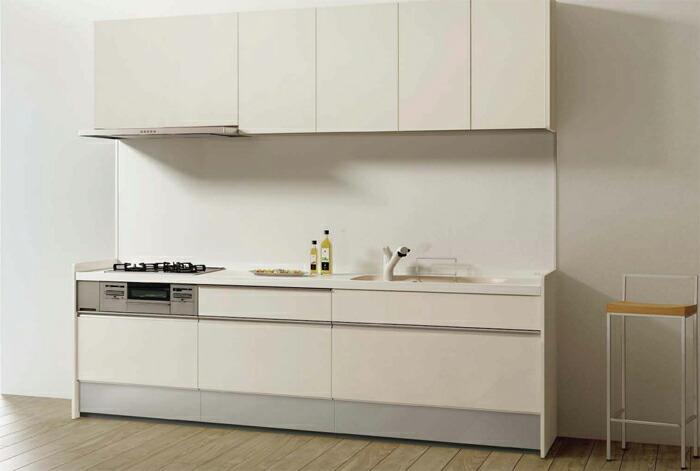 リクシル シエラ キッチン PLAN03 No.1112B オープン対面キッチン 壁付I型キッチン部と収納部 奥行65cm・間口255cm 扉グループ3/ミストラインシルーズミストベージュ
