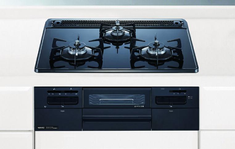 ガスコンロ ノーリツ  N3WQ6RWAS fami 60cmタイプ スノーブラックホーローゴトク ブラックガラストップ ブラックフェイス