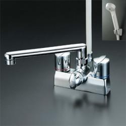 浴室 水栓 シャワー 水栓金具 KVK 【KF205G】 デッキ形一時止水付2ハンドルシャワー