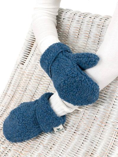 """ALWERO wool mittens """"FREEZE"""" blue"""