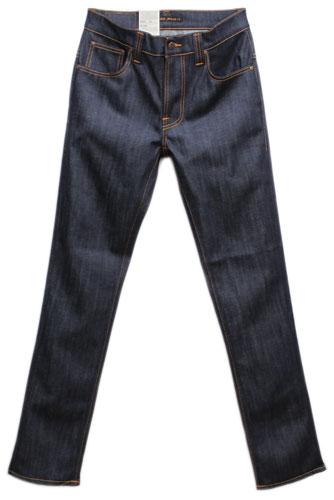 【 ヌーディージーンズ シンフィン オーガニックドライ・イクルーエンブロイド 】 Nudie Jeans THIN FINN Organic Dry Ecru Embo