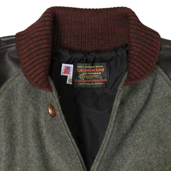 科莱特曼外套 (外套)-梅尔顿羊毛皮革套棕色 x 猎人
