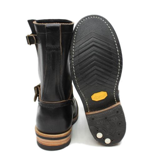 "VIBERG 靴 9""工程师靴 Chromexcel 黑色 x Vibram # 700 唯一 x 猫爪脚跟 x 黄铜扣"
