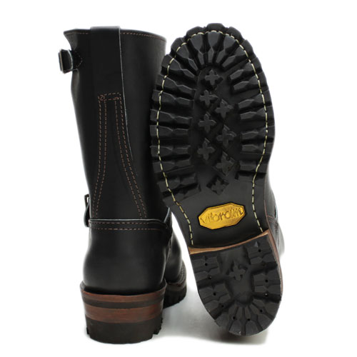 """""""WESCO' ENGINEER BOOTS""""BOSS""""9 inch Height, Black Leather, Bubble Toe, Vibram # 100 Sole, Brown Edge, (7709100)"""