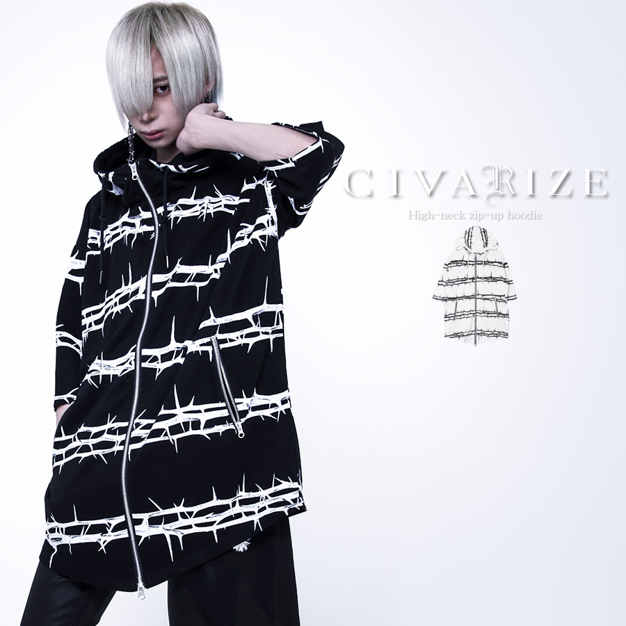 CIVARIZE シヴァーライズ パーカー ビッグ ヴィジュアル系 ビジュアル系 V系 メンズ ファッション ロック 卓出 レディース ジップアップ メンヘラ 送料無料 エモファッション 全2色