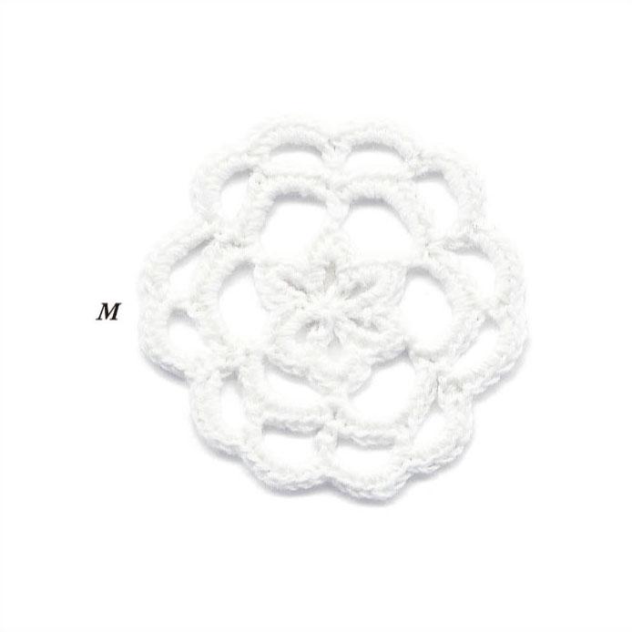 クロシェ モチーフ レース花 M 20個パック 全4色 SHINDO ファッション モチーフ パーツ 手作り 手編み SIC-3558