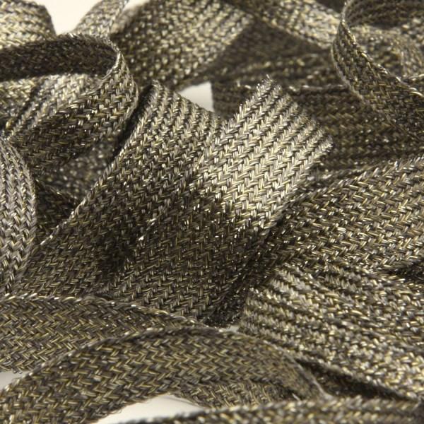 奥深く繊細なラメ感が特長 アンティーク調の日本製テープ スピンテープ アンティークメタリック 約14mm 超人気 チャコールシャンパンゴールド 服飾 SALE 9.14M巻 ラッピング RIBBON FUJIYAMA 手芸