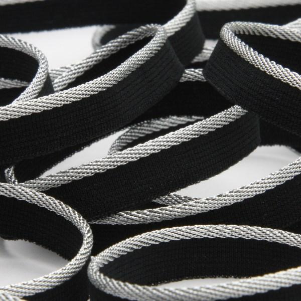 ラメ糸なのに伸縮OK 高い技術力で作り出した日本製パイピング 低価格 ストレッチパイピング メタリック 約10mm シルバーブラック 9.14M巻 手芸 服飾 全品最安値に挑戦 FUJIYAMA RIBBON