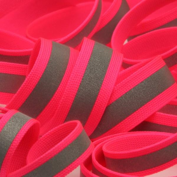 ネオンカラー 薄手ニットテープ 再帰反射 15mm 蛍光ピンク 9.14M巻 手芸 服飾 FUJIYAMA RIBBON