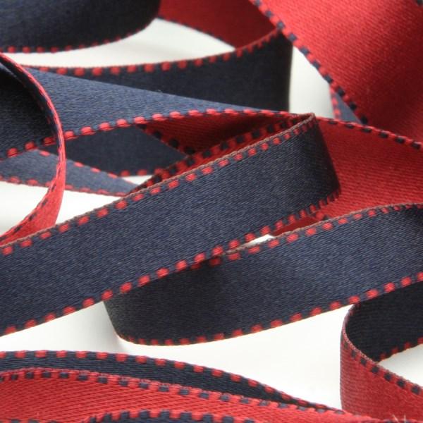 試行錯誤の末に完成 キュートでポップなリバーシブルリボン リバーシブルステッチサテンリボン 15mm ダークレッドネイビーブルー 新登場 9.14M巻 服飾 RIBBON 送料無料新品 ラッピング FUJIYAMA 手芸