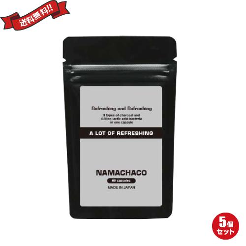 炭 乳酸菌 コンブチャ ダイエットサプリ NAMACHACO ナマチャコ 60粒 5袋セット
