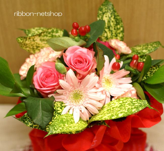 Standing bouquet of seasonal flowers ( flower ) (Pink) FL-HT-34