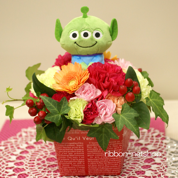 Milk Box Flower Arrangement Fl Ar 381 Of The Season With Toy Story Little Green Men Bean Bag Mascot