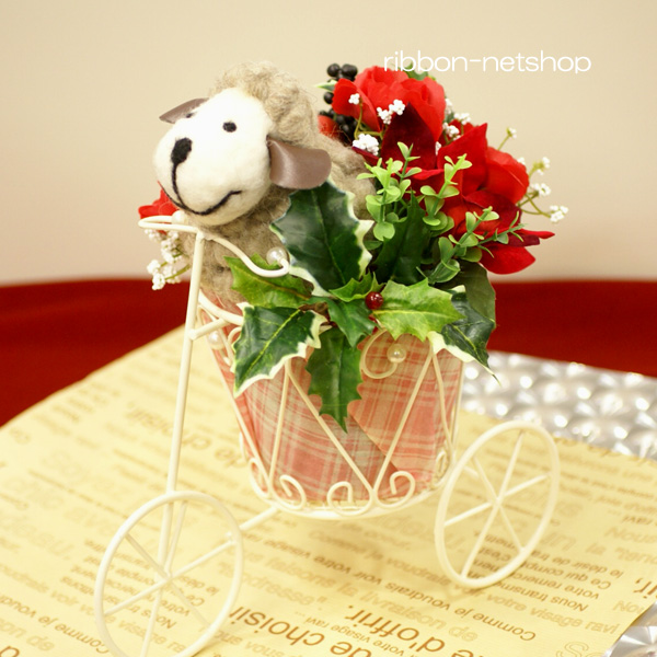 Ribbon net shop tricycle wire basket silk flower christmas tricycle wire basket silk flower christmas arrangement fl ch 477 with the mascot of the sheep mightylinksfo