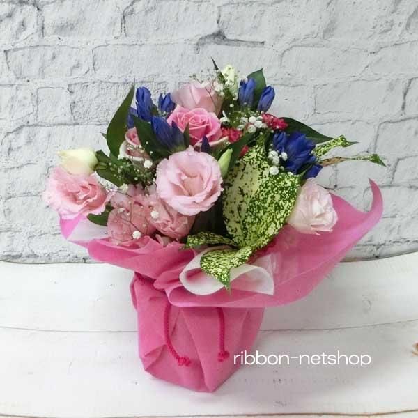 9月の誕生花を使ったバースデーフラワー 只今 ご予約受付中 送料無料 生花 花束 超目玉 FL-9GT-5 無料 りんどうと季節のお花のスタンディングブーケ 楽ギフ_メッセ入力 誕生日に贈る花束 大きめサイズ