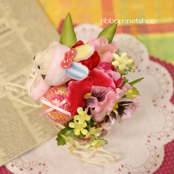 Ribbon net shop tricycle wire basket silk flower artificial flower tricycle wire basket silk flower artificial flower spring arrangement fl sf 44 with rabbit and the easter egg mightylinksfo