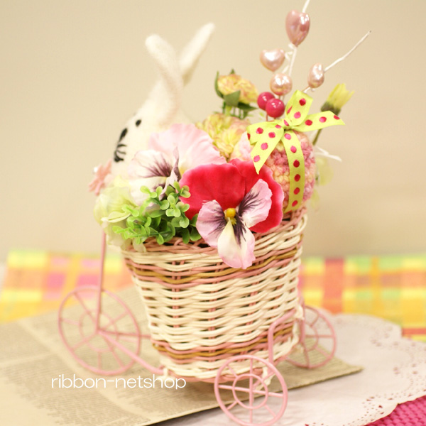 Ribbon net shop rattan tricycle basket silk flower artificial rattan tricycle basket silk flower artificial flower spring arrangement fl sf 49 with sophie rabbit and the easter egg mightylinksfo