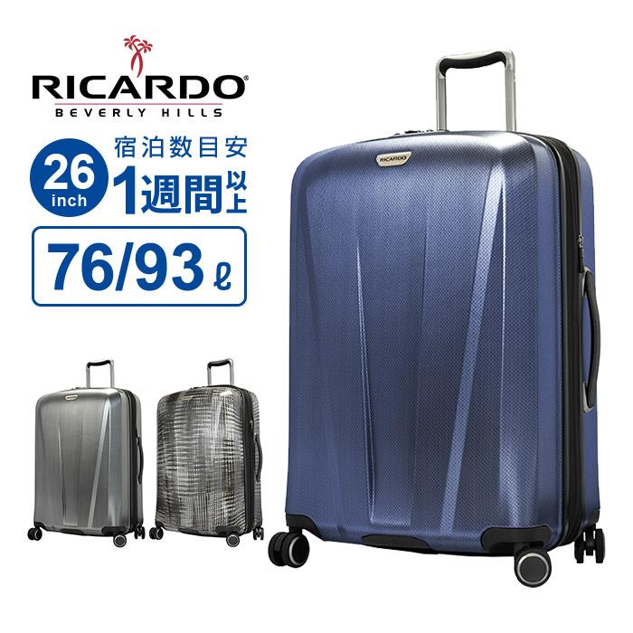 リカルド RICARDO スーツケース Lサイズ San Clemente2.0 サンクレメンテ2.0 26インチ スピナー 拡張 ビニールポーチ キャリーケース キャリーバッグ 1週間以上 大容量 軽量 大型 158cm以内