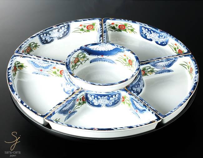 和食器 古伊万里オードブル回転 47 おうち うつわ カフェ 食器 陶器 日本製 美濃焼 大皿 インスタ映え パーティー おせち 宴会