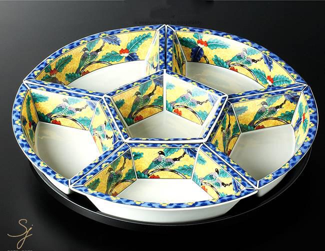 和食器 黄花鳥オードブル 39×8 おうち うつわ カフェ 食器 陶器 日本製 美濃焼 大皿 インスタ映え