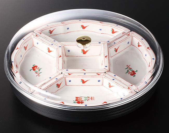 和食器 古赤絵フード付オードブル 39×8 おうち うつわ カフェ 食器 陶器 日本製 美濃焼 大皿 インスタ映え