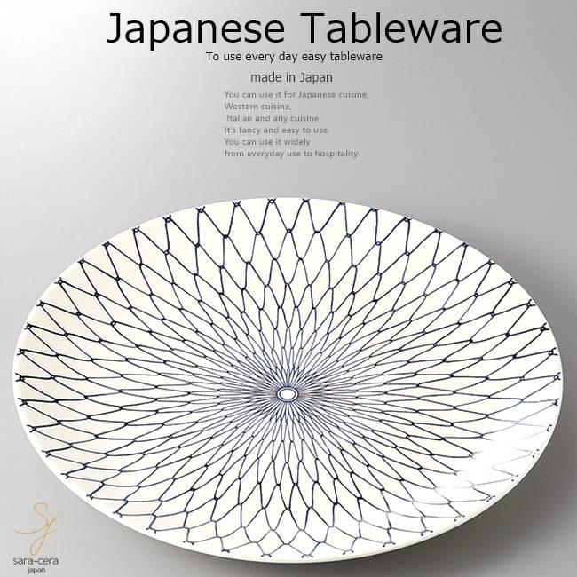 和食器 網目丸皿 42.5×5 おうち うつわ カフェ 食器 陶器 日本製 美濃焼 大皿 インスタ映え