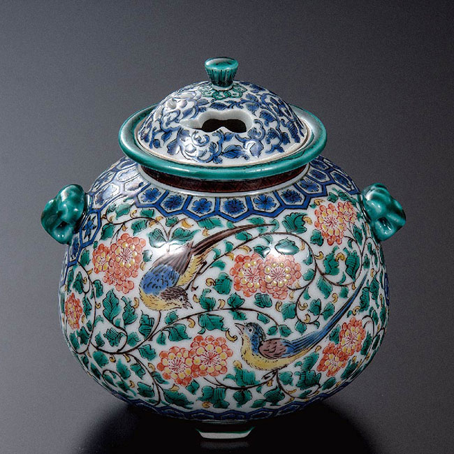 九谷焼 4号香炉 色絵双鳥 和食器 日本製 ギフト おうち ごはん うつわ 陶器
