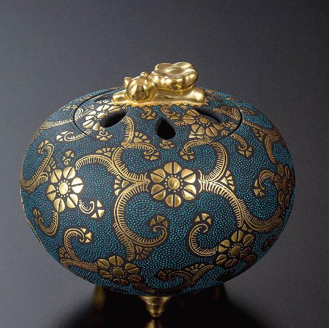 九谷焼 3.8号香炉 渦打青粒盛金鉄線文 和食器 日本製 ギフト おうち ごはん うつわ 陶器
