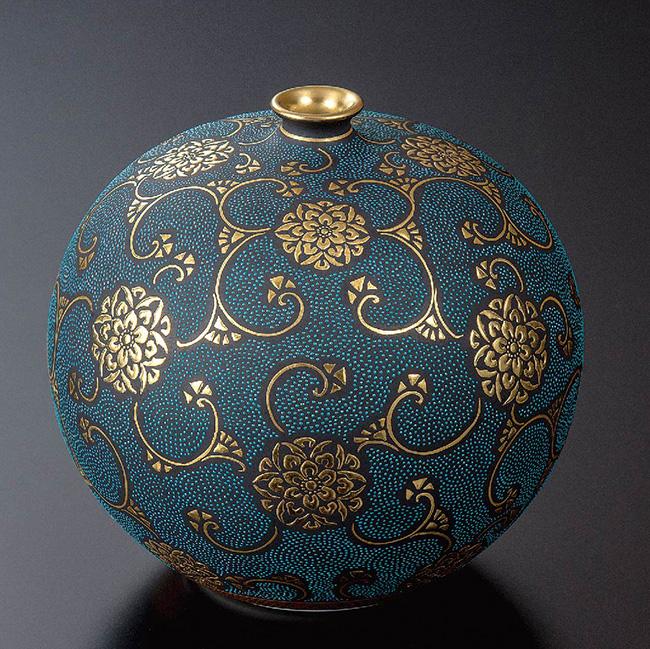 九谷焼 4号華器 青粒宝相華 和食器 日本製 ギフト おうち ごはん うつわ 陶器
