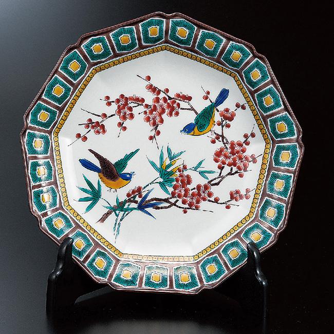 九谷焼 8号飾プレート 皿 古九谷梅鳥 和食器 日本製 ギフト おうち ごはん うつわ 陶器