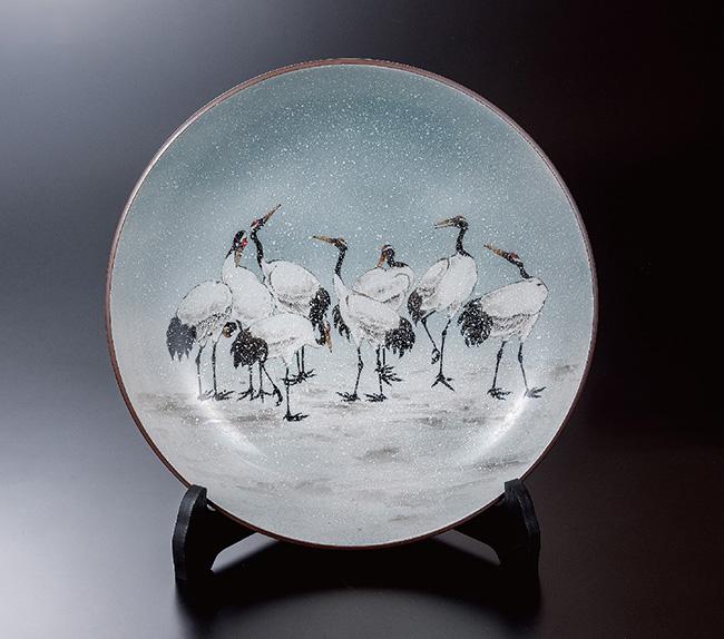 九谷焼 12号飾プレート 皿 雪の舞 和食器 日本製 ギフト おうち ごはん うつわ 陶器