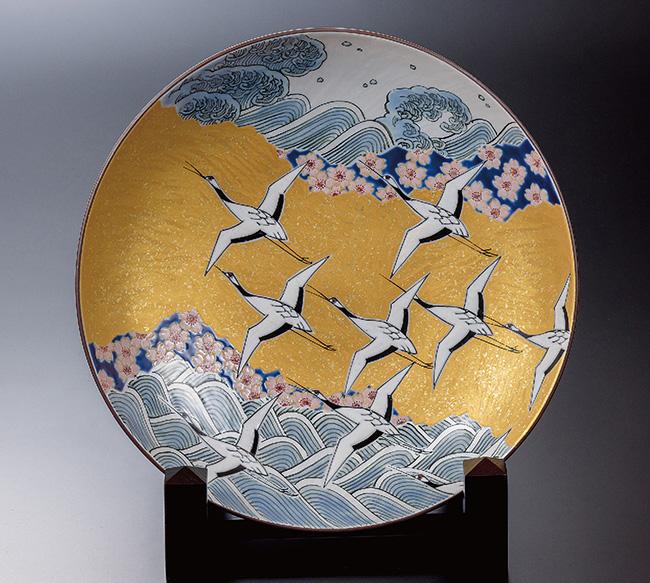九谷焼 10号飾プレート 皿 千羽鶴 和食器 日本製 ギフト おうち ごはん うつわ 陶器
