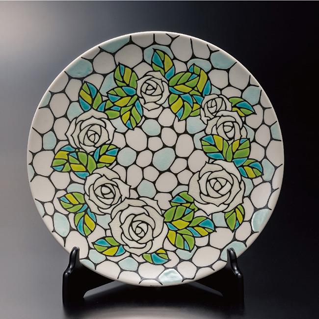 九谷焼 10号飾プレート 皿 ホワイトローズ 和食器 日本製 ギフト おうち ごはん うつわ 陶器