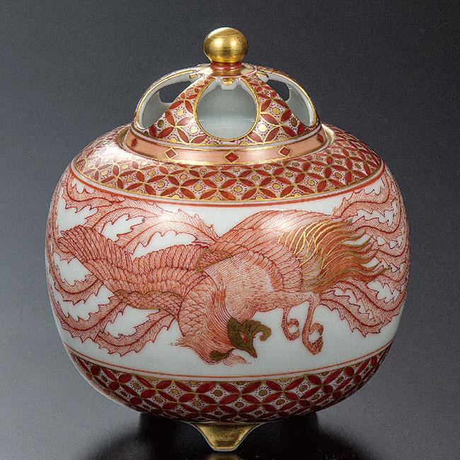 九谷焼 4号香炉 赤絵鳳凰文 和食器 日本製 ギフト おうち ごはん うつわ 陶器