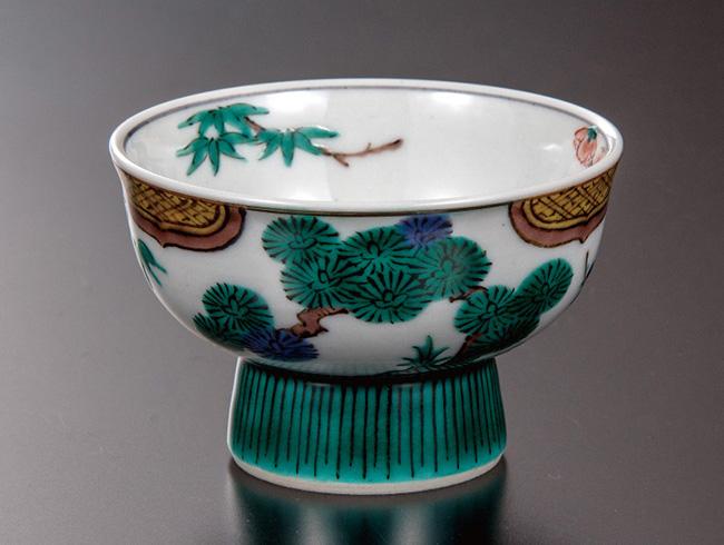 九谷焼 ぐい呑 色絵松竹梅 和食器 日本製 ギフト おうち ごはん うつわ 陶器