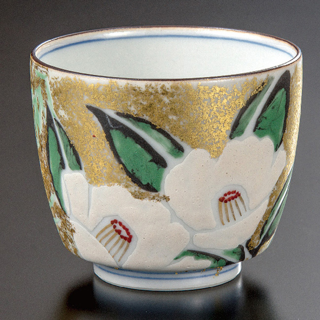 九谷焼 ぐい呑 金箔彩椿竹梅文 和食器 日本製 ギフト おうち ごはん うつわ 陶器