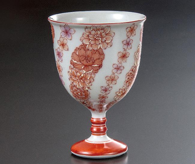九谷焼 馬上盃 赤絵花文 和食器 日本製 ギフト おうち ごはん うつわ 陶器