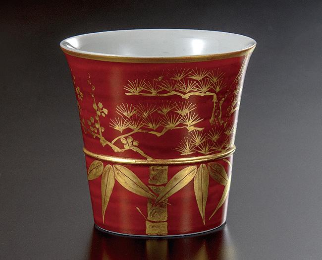 九谷焼 ぐい呑 金襴手松竹梅 和食器 日本製 ギフト おうち ごはん うつわ 陶器