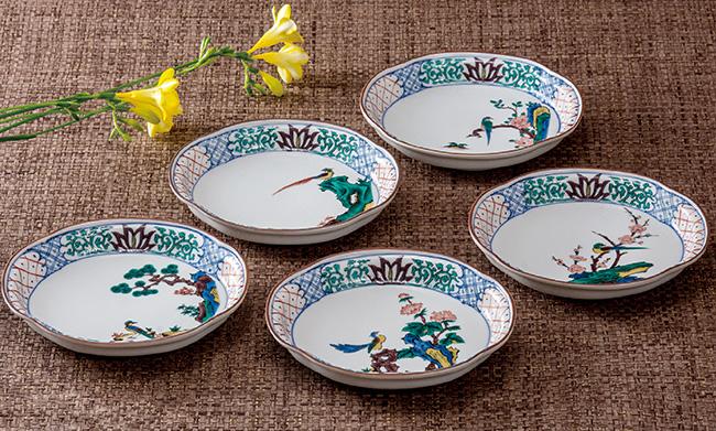 九谷焼 5個セット 5.5号プレート 皿 食器セット 古九谷花鳥 和食器 日本製 ギフト おうち ごはん うつわ 陶器