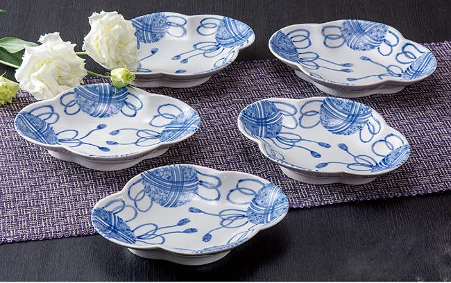 九谷焼 5個セット 6号プレート 皿 食器セット 手毬梅 和食器 日本製 ギフト おうち ごはん うつわ 陶器