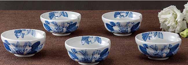九谷焼 5個セット 3.5号 小鉢 ボウル ボール セット 染付山茶花 和食器 日本製 ギフト おうち ごはん うつわ 陶器