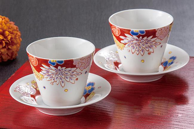 九谷焼 2個セット ペア フリーカップ コップ タンブラー お茶 ビール 花詰 和食器 日本製 ギフト おうち ごはん うつわ 陶器